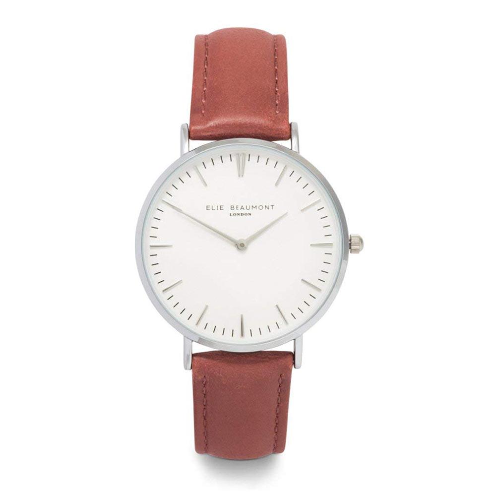 Elie Beaumont|英國時尚手錶 牛津系列 白錶盤x暗玫紅錶帶x銀錶框38mm