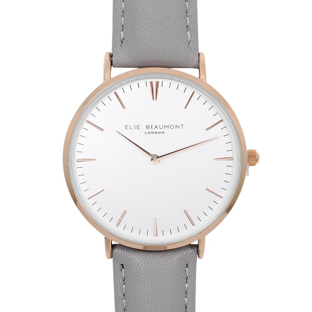 Elie Beaumont|英國時尚手錶 牛津系列 白錶盤x灰色錶帶x玫瑰金錶框38mm