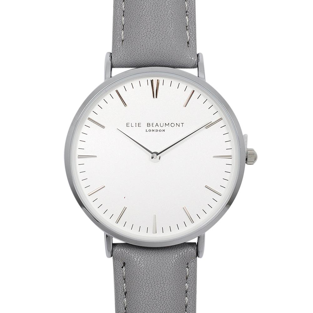 Elie Beaumont|英國時尚手錶 牛津系列 白錶盤x牛津灰錶帶x銀錶框38mm