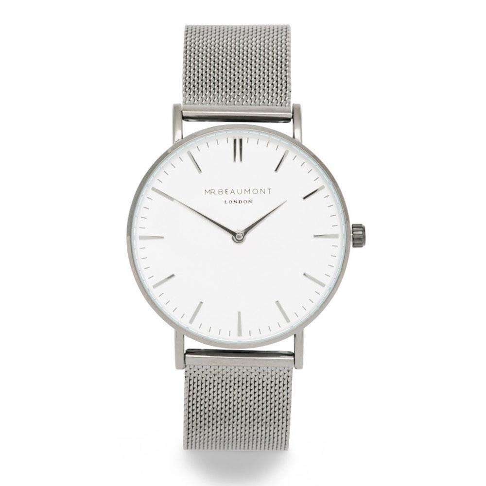 Elie Beaumont|英國時尚手錶 牛津米蘭錶帶系列 白錶盤x銀色錶帶錶框41mm