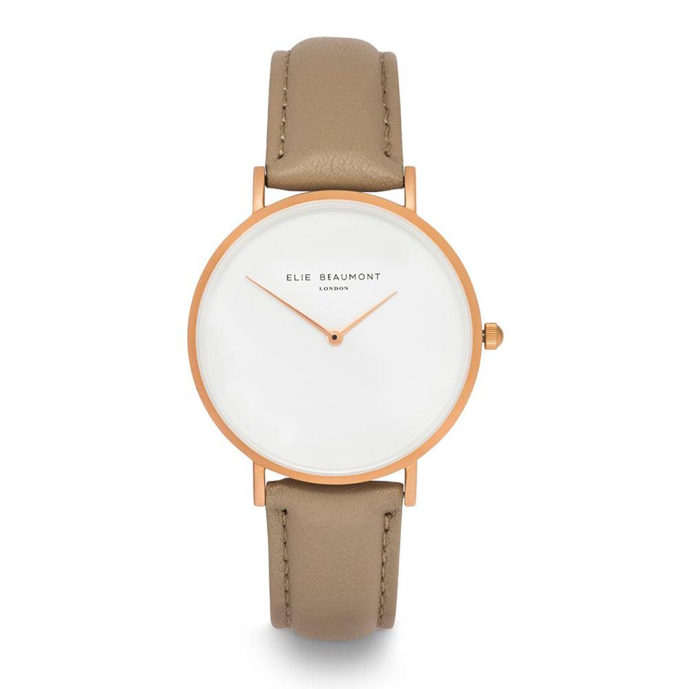Elie Beaumont|英國時尚手錶 HOXTON極簡系列 白錶盤x卡布奇諾棕錶帶x玫瑰金錶框38mm