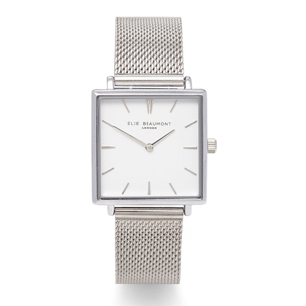 Elie Beaumont|英國時尚手錶 BAYSWATER系列白x銀方框米蘭錶帶28mm