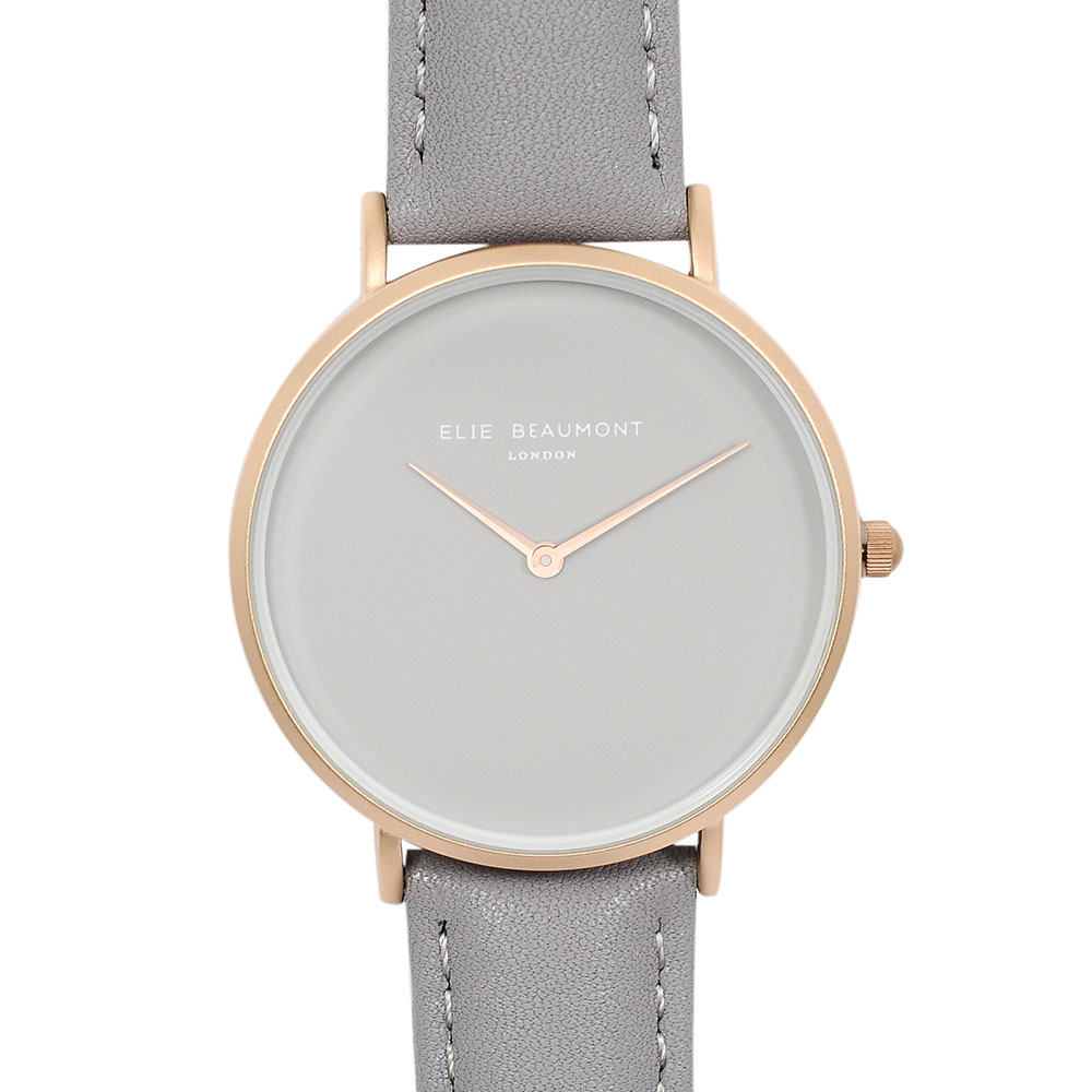 Elie Beaumont|英國時尚手錶 HOXTON系列 灰錶盤錶帶x玫瑰金錶框38mm