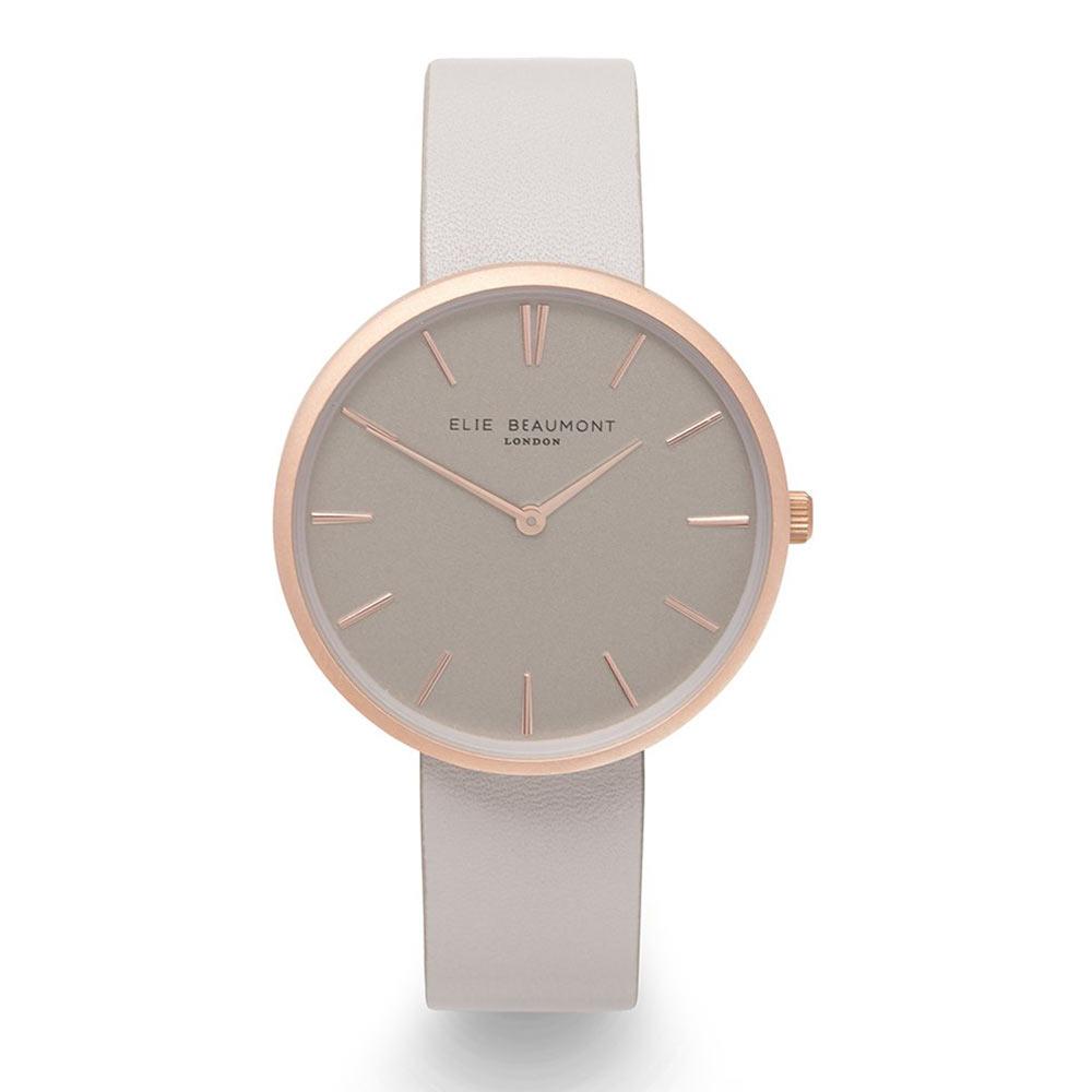 Elie Beaumont|英國時尚手錶HAMPSTEAD系列 淺灰x磨砂玫瑰金框38mm