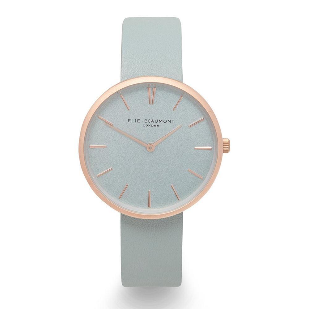 Elie Beaumont|英國時尚手錶HAMPSTEAD系列 嫩綠x磨砂玫瑰金框38mm