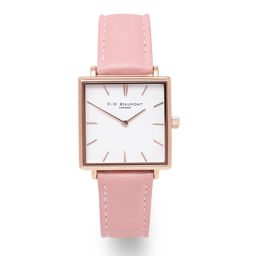 Elie Beaumont|英國時尚手錶 BAYSWATER白x玫瑰金方框 嫩粉色28mm