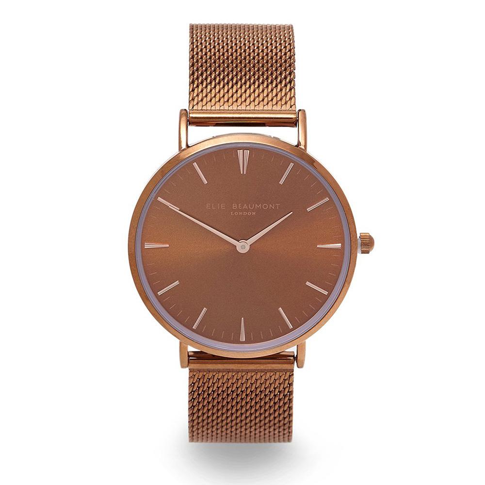 Elie Beaumont 英國時尚手錶 牛津米蘭錶帶系列 金屬咖啡色38mm EB805GM Brown