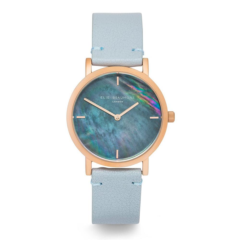 Elie Beaumont|英國時尚手錶 KENSINGTON珍珠母貝系列 淺藍X玫瑰金36mm