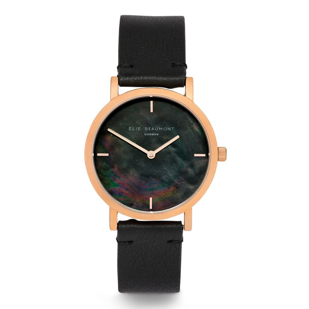 Elie Beaumont|英國時尚手錶 KENSINGTON珍珠母貝系列 黑色X玫瑰金36mm