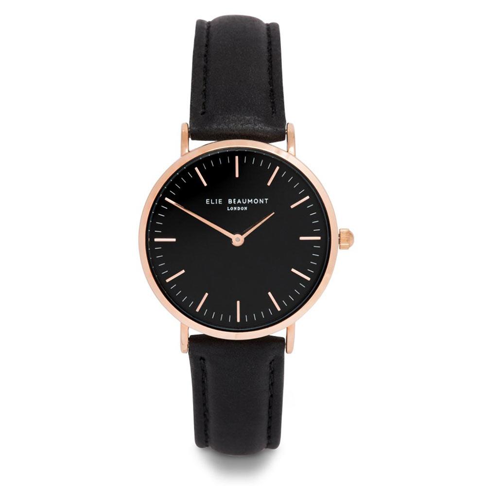 Elie Beaumont|英國時尚手錶 牛津系列 黑錶盤皮革錶帶x玫瑰金錶框33mm