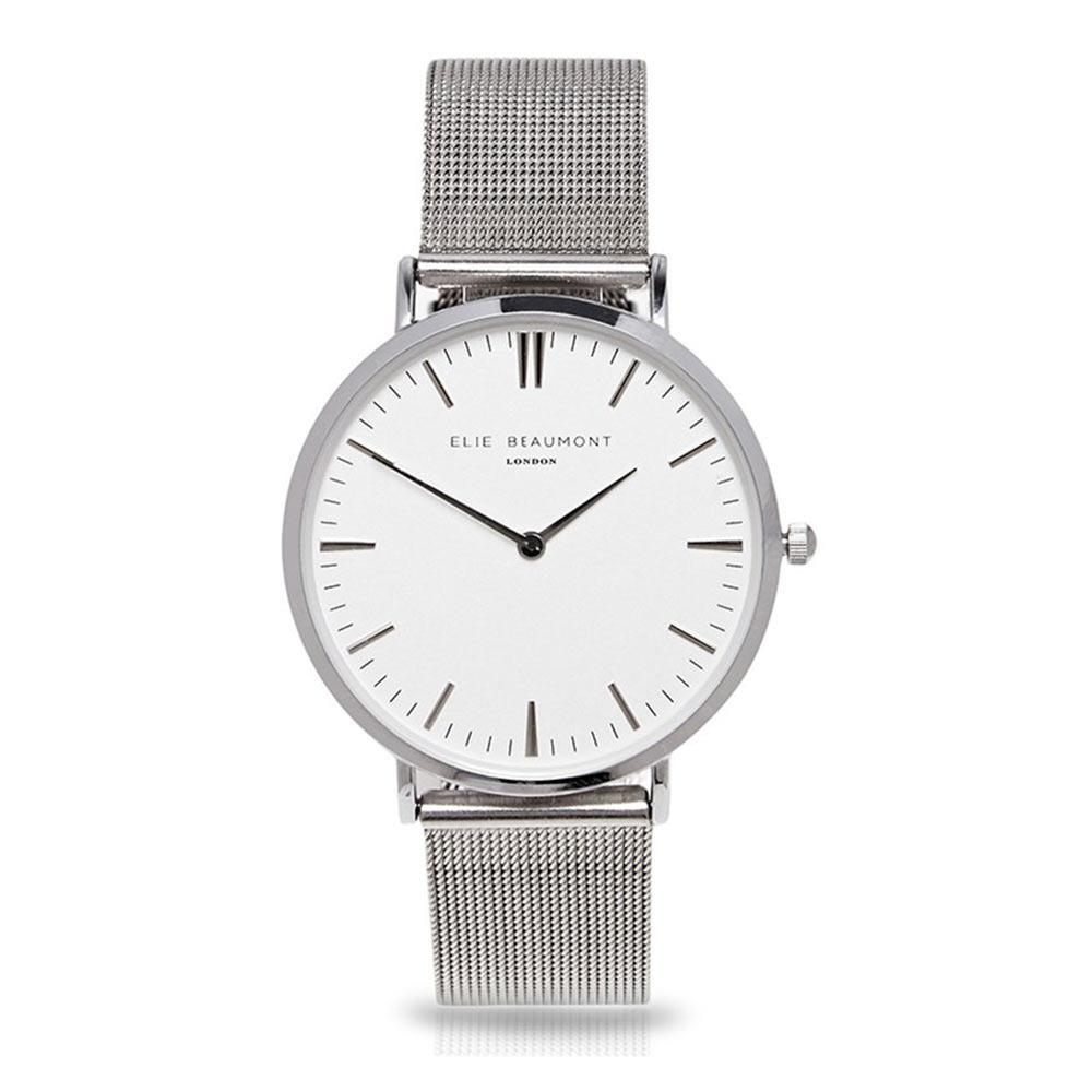 Elie|Beaumont 英國時尚手錶 牛津米蘭錶帶系列 白錶盤x銀色錶帶錶框33mm