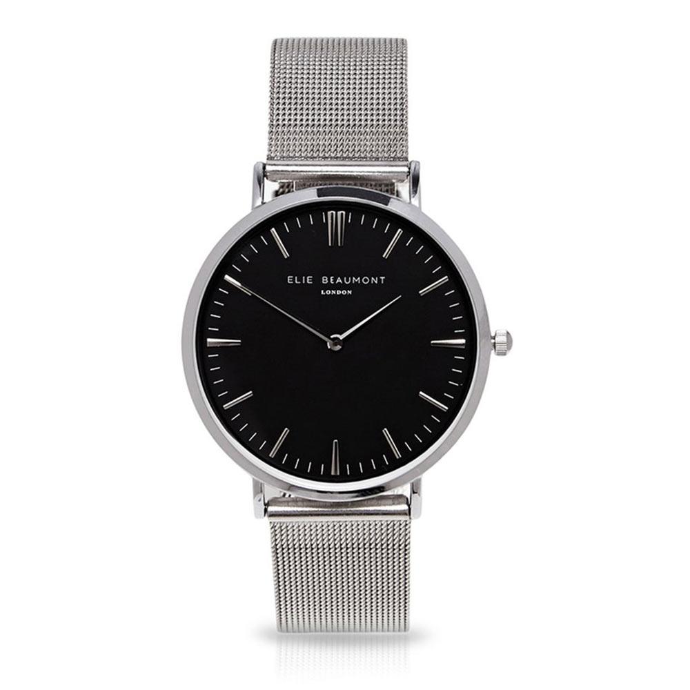 Elie Beaumont|英國時尚手錶 牛津米蘭錶帶系列 黑錶盤x銀色錶帶錶框33mm