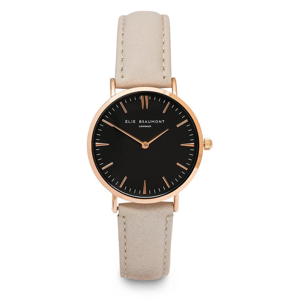 Elie Beaumont|英國時尚手錶 牛津系列 黑錶盤x褐色皮革錶帶x玫瑰金錶框33mm