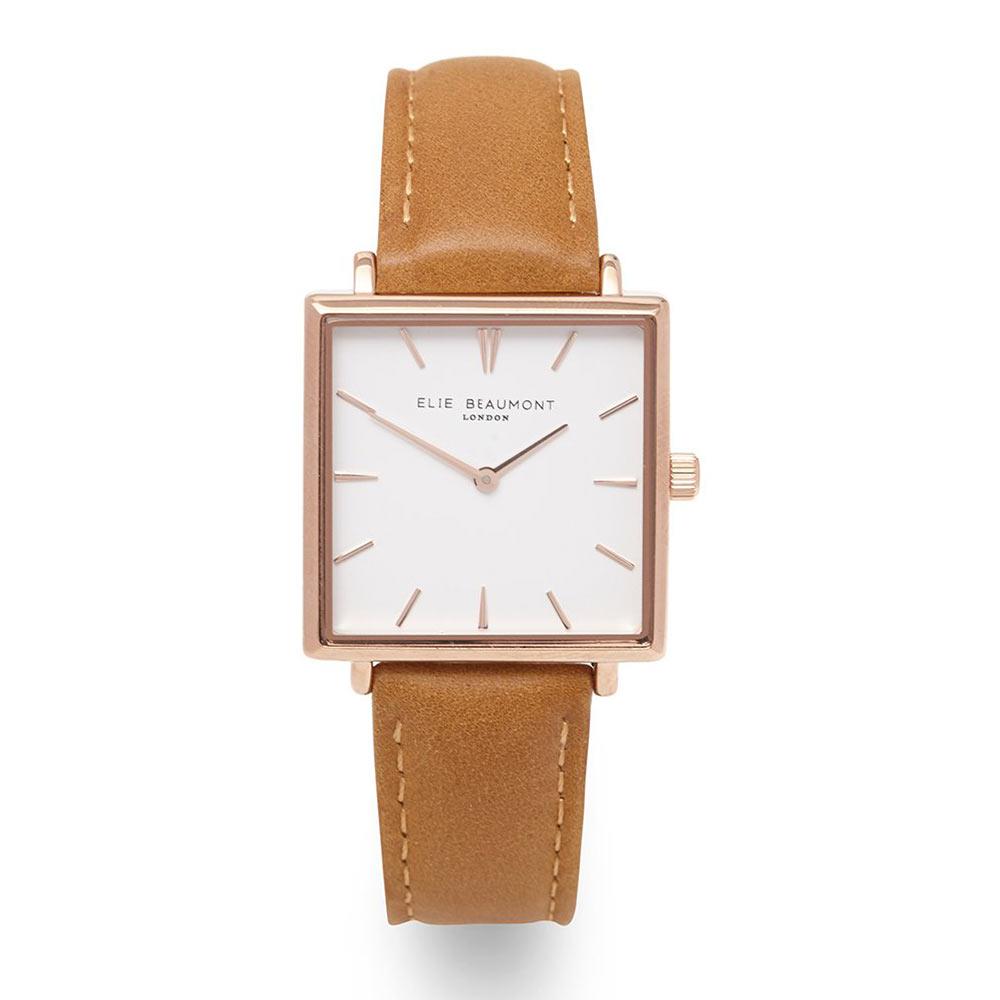 Elie Beaumont|英國時尚手錶 BAYSWATER系列 白錶盤x玫瑰金方框 焦糖色28mm