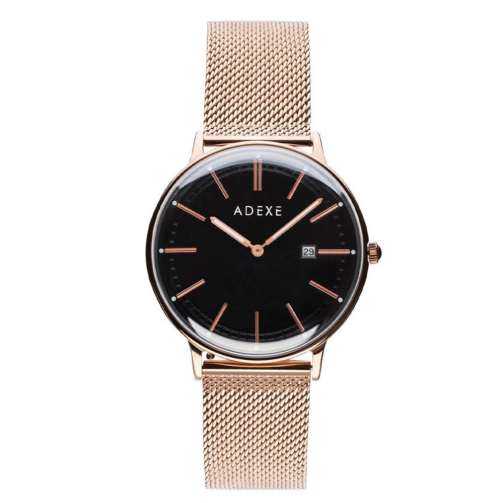 ADEXE|英國時尚手錶 Meek日期顯示系列 黑錶盤x玫瑰金錶框米蘭錶帶32.5mm 2043A-05