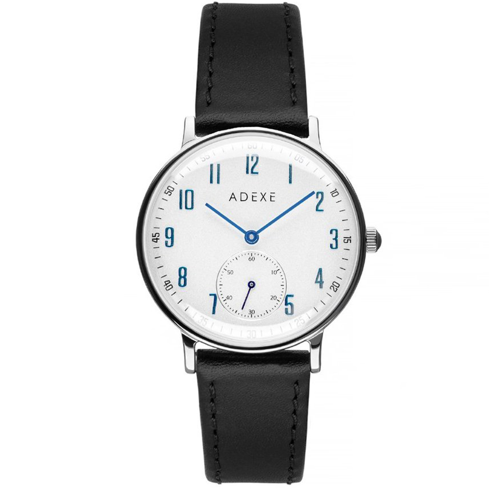 ADEXE|英國時尚手錶 Freerunner單眼系列 白錶盤x銀錶框皮革錶帶32.5mm 2043C-02