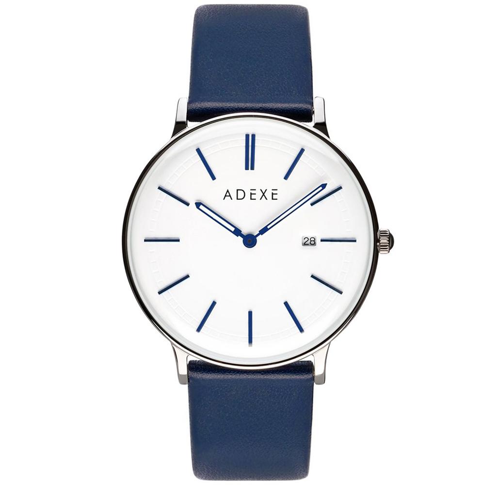 ADEXE|英國時尚手錶 Meek日期顯示系列 白錶盤x銀錶框皮革錶帶40.5mm 2046A-02