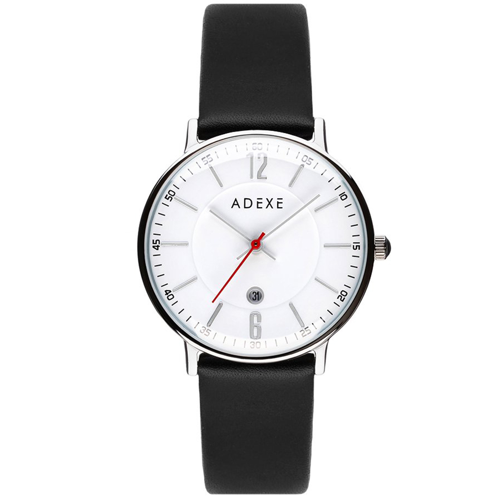 ADEXE 英國時尚手錶 MAC日期顯示系列白錶盤x銀錶框皮革錶帶32.5mm 2043B-02