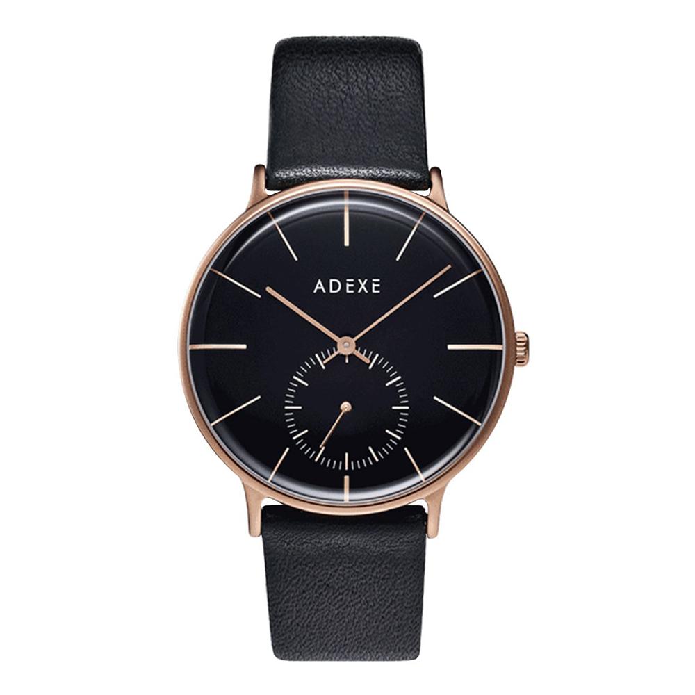 ADEXE|英國時尚手錶 Freerunner單眼系列 黑錶盤x玫瑰金錶框皮革錶帶41mm 1868E-05