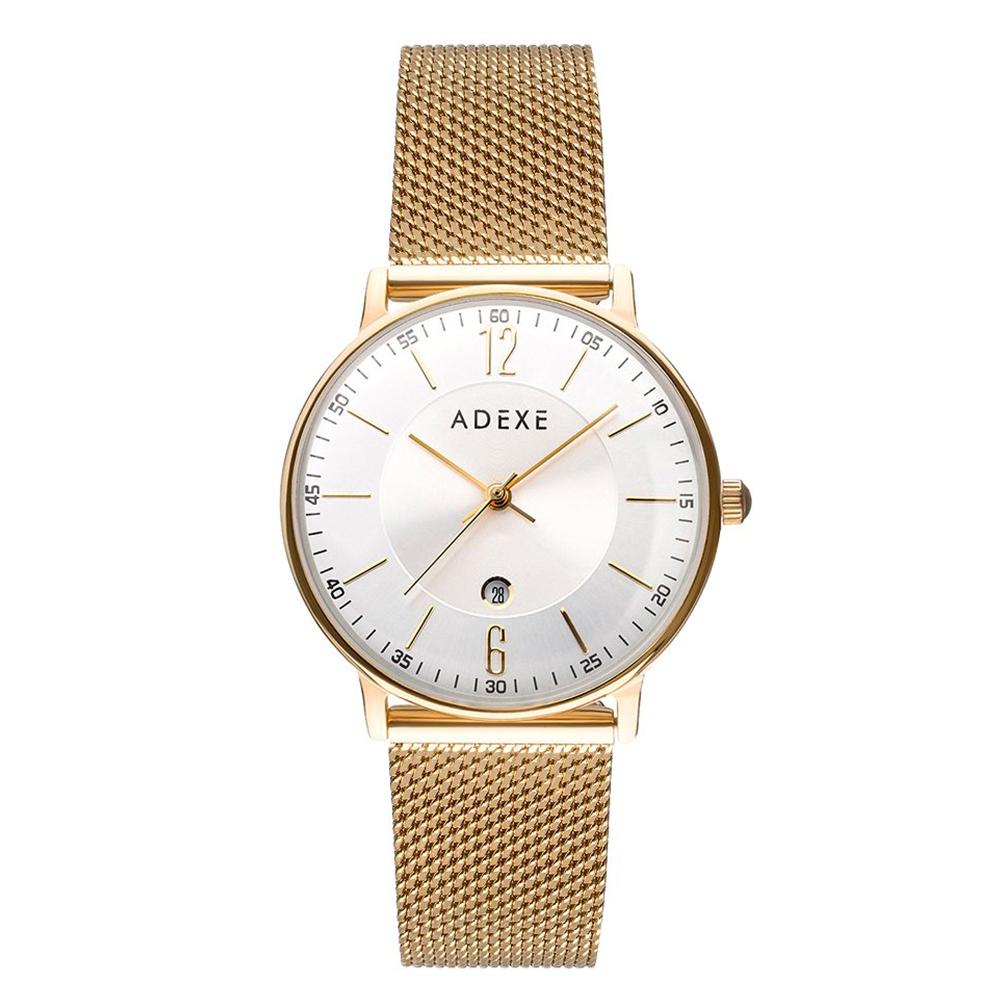 ADEXE|英國時尚手錶 MAC日期顯示系列 白錶盤x金錶框米蘭錶帶32.5mm 2043B-06