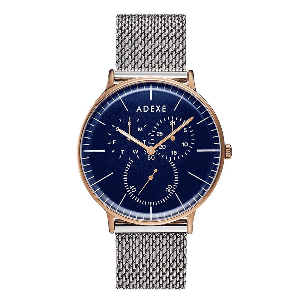 ADEXE|英國時尚手錶 THEY單眼系列 藍錶盤x玫瑰金錶框米蘭錶帶41mm 1868A-10