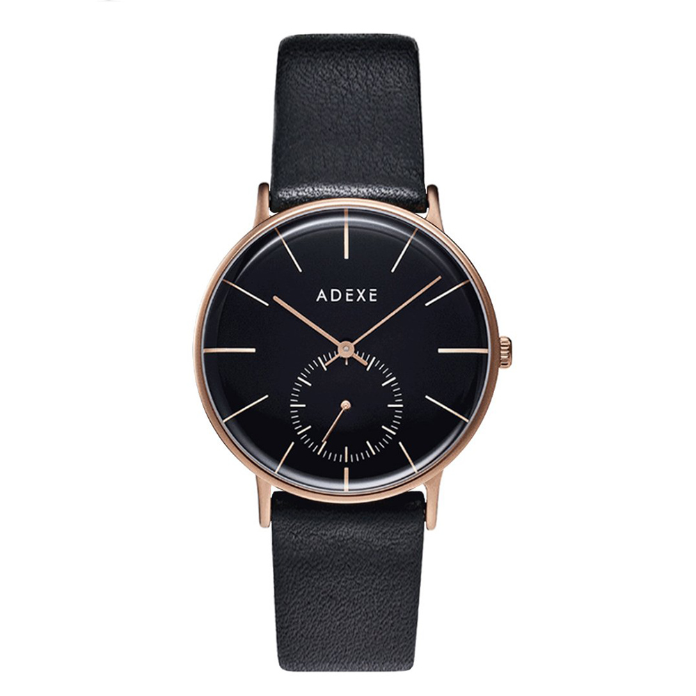 ADEXE 英國時尚手錶 Freerunner單眼系列 黑錶盤x玫瑰金錶框皮革錶帶33mm 1870B-06