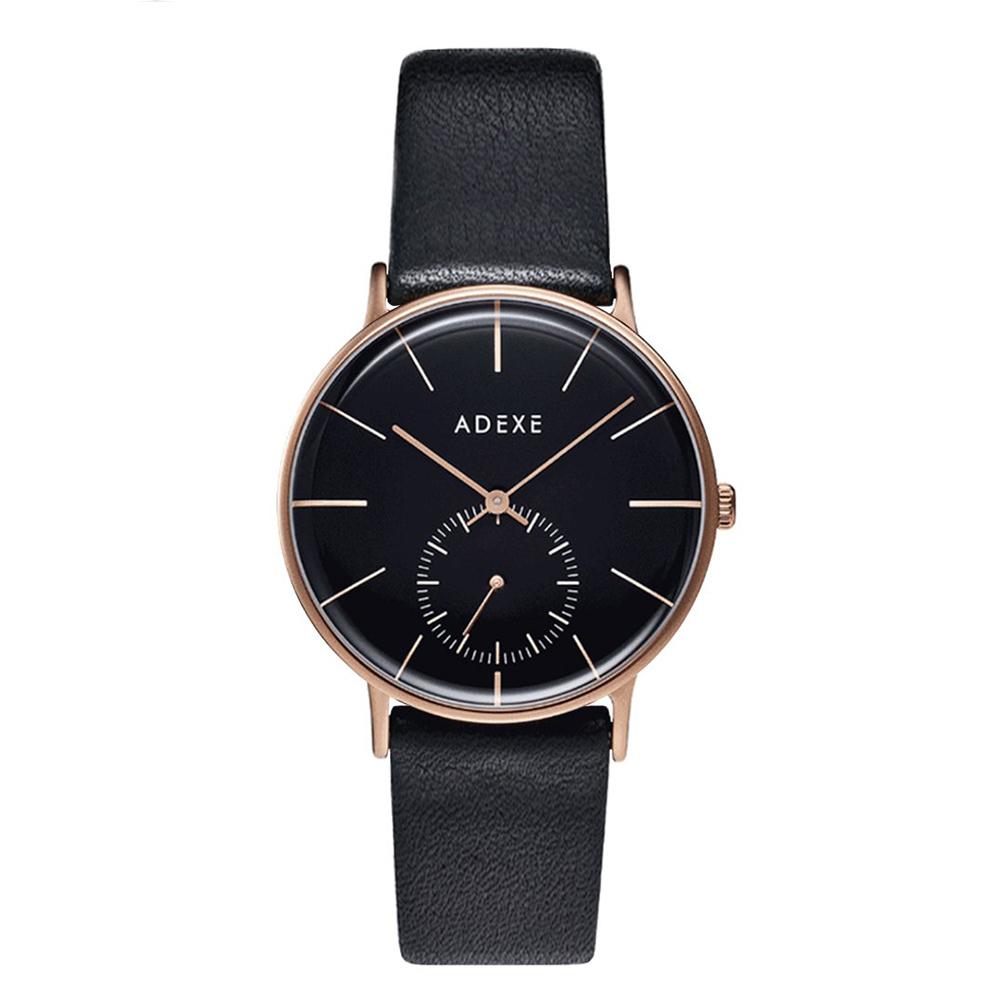 ADEXE|英國時尚手錶 Freerunner單眼系列 黑錶盤x玫瑰金錶框皮革錶帶33mm 1870B-06