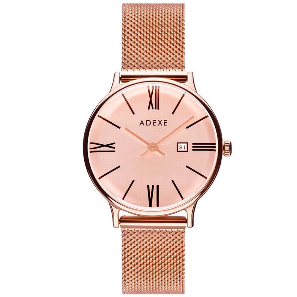 ADEXE|英國時尚手錶 Meek日期顯示系列 玫瑰金錶盤x玫瑰金錶框米蘭錶帶33mm 1870C-06