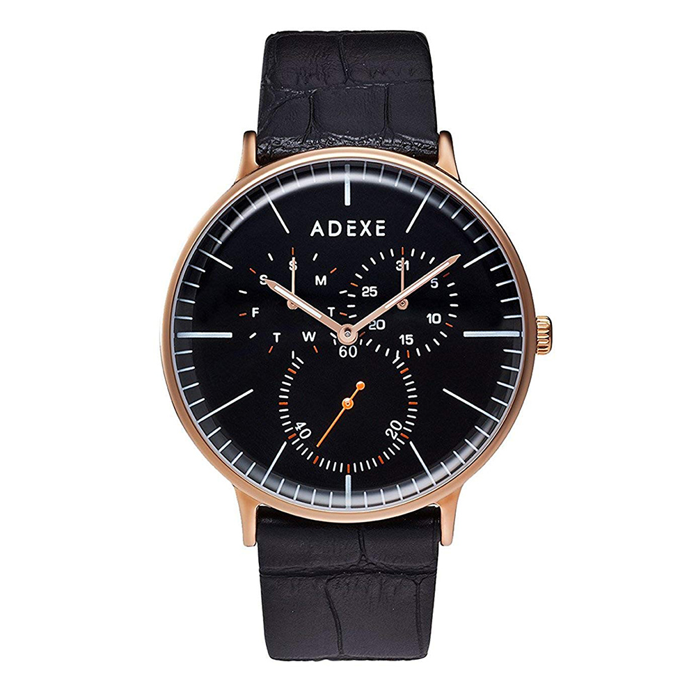 ADEXE|英國時尚手錶 THEY三眼系列 黑錶盤x玫瑰金錶框 皮革錶帶41mm 1868A-06
