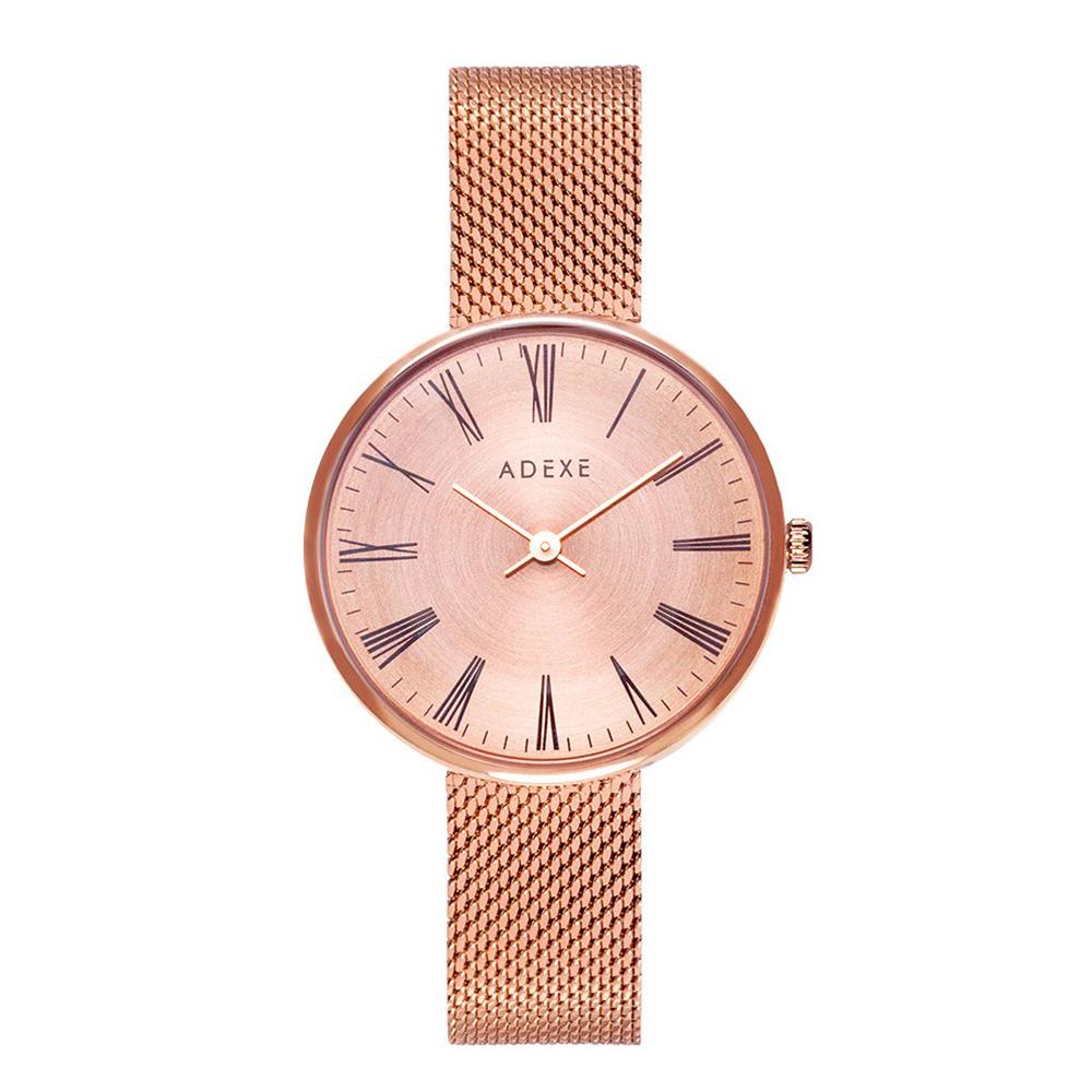 ADEXE|英國時尚手錶 Sistine羅馬刻度系列 玫瑰金錶盤x玫瑰金錶框米蘭錶帶35mm 1887B-05