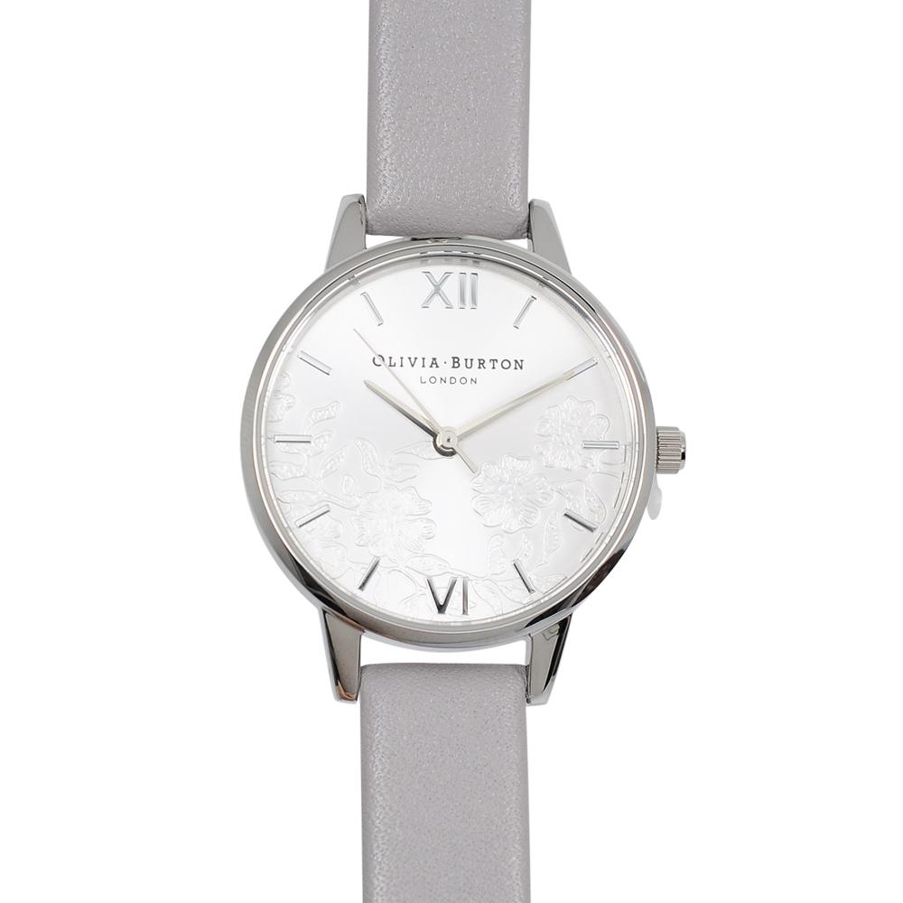 Olivia Burton|英倫復古手錶 浮金歲月法式蕾絲 灰色真皮錶帶銀框30mm OB16MV76
