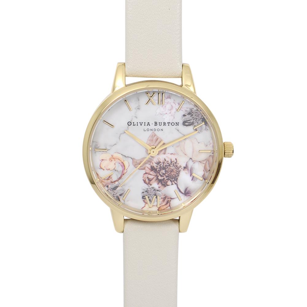 Olivia Burton|英倫復古手錶 大理石花卉紋路 米色真皮錶帶金框30mm OB16CS15