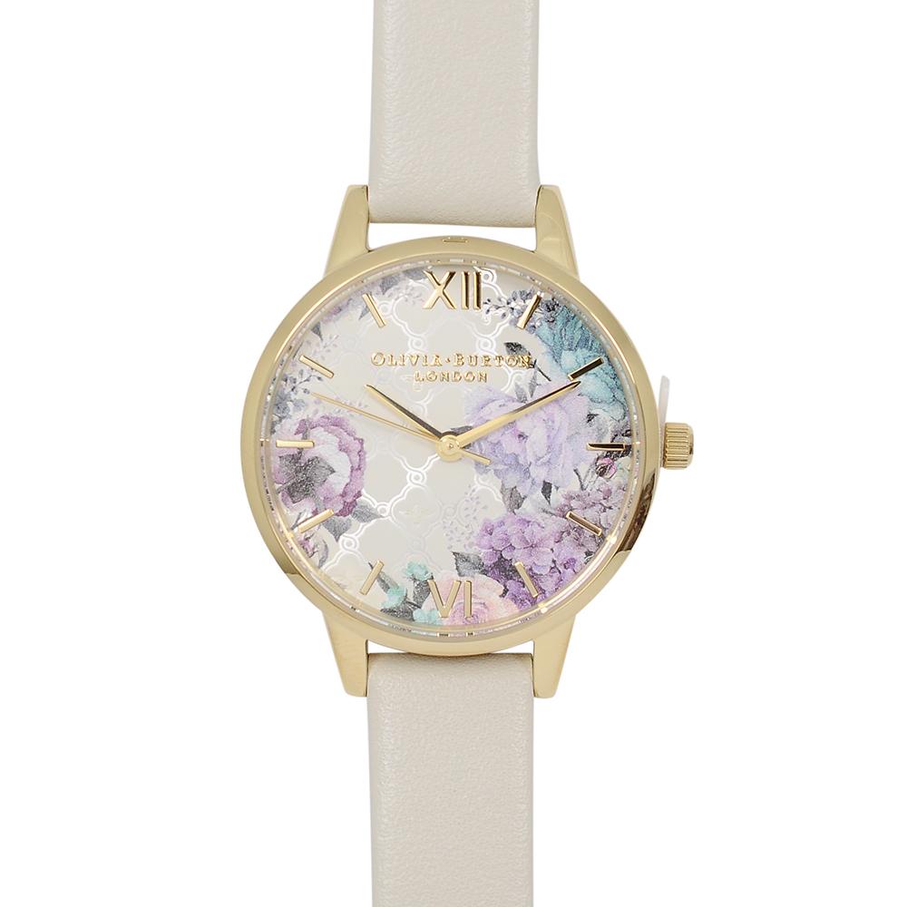 Olivia Burton|英倫復古手錶 閃亮格紋花園 米色真皮錶帶金框30mm OB16EG99