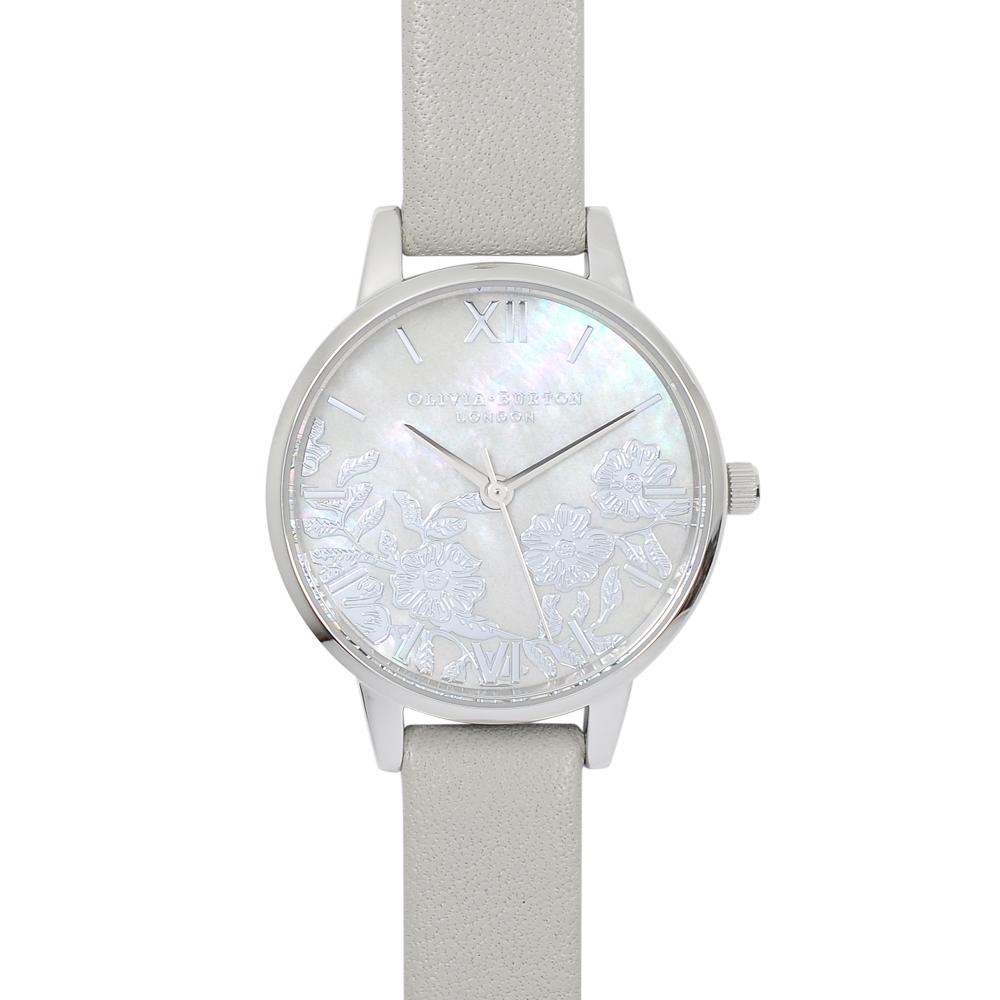 Olivia Burton 英倫復古手錶 法式蕾絲 珍珠母貝錶盤 灰色真皮錶帶銀框30mm OB16MV93