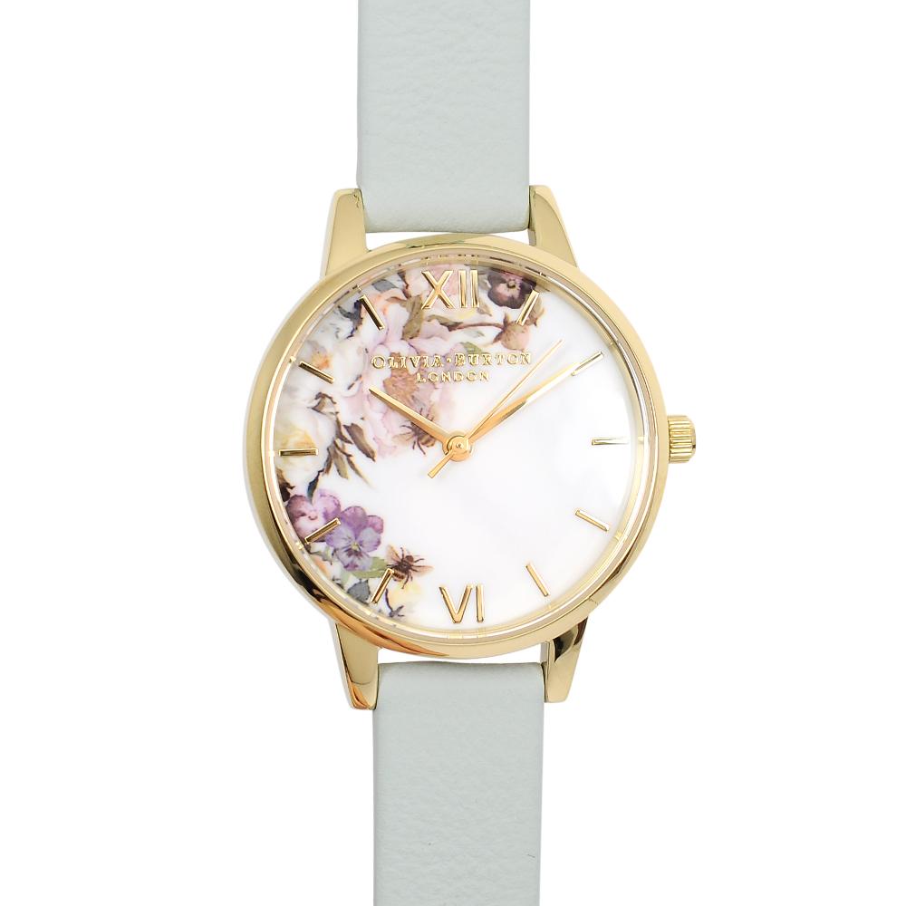 Olivia Burton 英倫復古手錶 魔法花園 粉綠色真皮錶帶金框30mm OB16EG112