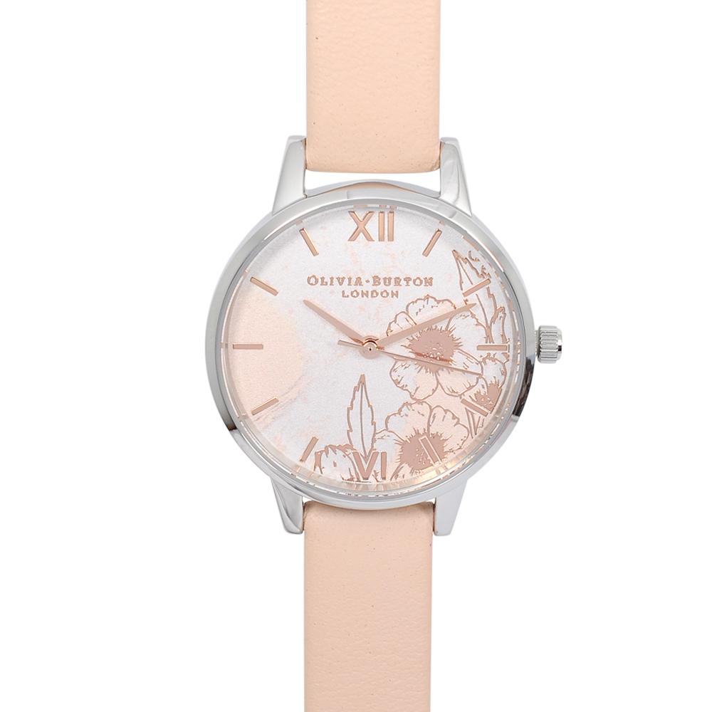 Olivia Burton|英倫復古手錶 抽象花卉浮雕 蜜桃粉色真皮錶帶銀框30mm OB16VM27