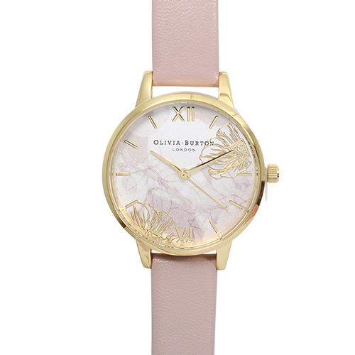 Olivia Burton|英倫復古手錶 抽象花卉浮雕 玫瑰粉色真皮錶帶金框30mm OB16VM31