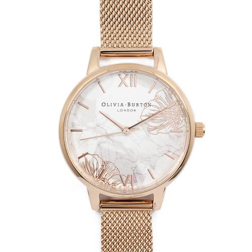 Olivia Burton|英倫復古手錶 抽象花卉浮雕 玫瑰金米蘭金屬錶帶30mm OB16VM11