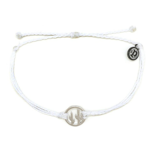 Pura Vida | 美國手工 銀色魅力仙人掌 白色臘線可調式手鍊衝浪防水手繩