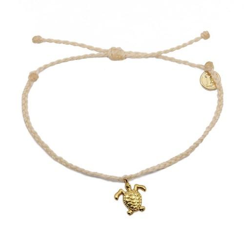 Pura Vida | 美國手工 金色海龜 膚色臘線可調式手鍊衝浪海灘防水手繩