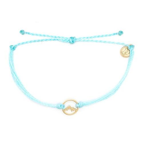 Pura Vida | 美國手工 金色魅力小山 水藍色臘線可調式手鍊衝浪防水手繩