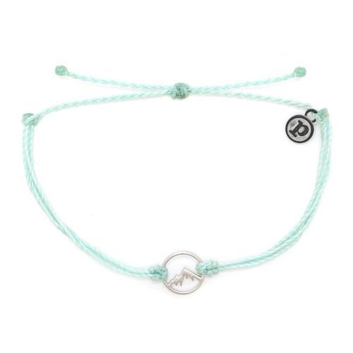 Pura Vida | 美國手工 銀色魅力小山 嫩綠色臘線可調式手鍊衝浪防水手繩