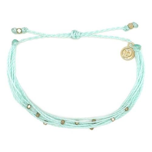 Pura Vida | 金色Malibu串珠 水藍色臘線衝浪手鍊手環