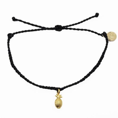 Pura Vida | 美國手工 金色鳳梨 黑色臘線可調式手鍊防水衝浪手繩手鍊