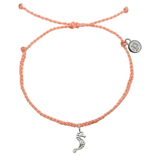 Pura Vida | 美國手工 銀色海馬 鮭魚粉臘線衝浪手鍊手環