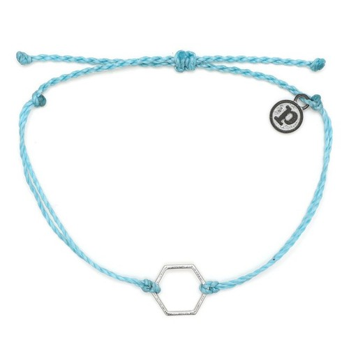 Pura Vida | 美國手工 銀色六角形 水藍色臘線衝浪手鍊手環