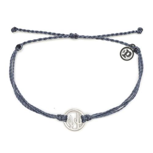 Pura Vida | 美國手工 銀色魅力仙人掌 灰色臘線可調式手鍊衝浪防水手繩