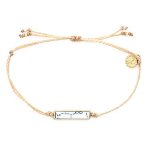 Pura Vida | 美國手工 白紋石長形墜飾 奶油色臘線衝浪手鍊手環