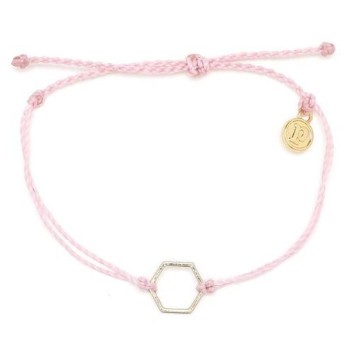 Pura Vida | 美國手工 金色六角形 粉色臘線衝浪手鍊手環