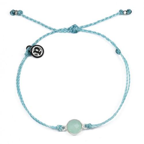 Pura Vida | 美國手工 海藍石墜飾 冰河藍臘線可調式手鍊衝浪防水手繩